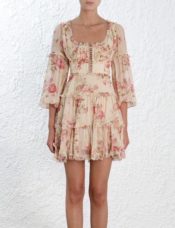 Women Blouson Sleeves Corsair Frill Corset Dress In Cream Floral Silk Crinkle Georgette Lattice Front Ruffles Mini Dress