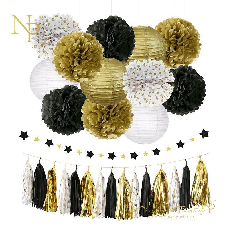 Nicro 28 pcs/lot Graduation 2019 fête décoration Kit or frondeurs papier de soie fleur lanterne gland guirlande anniversaire # Set18
