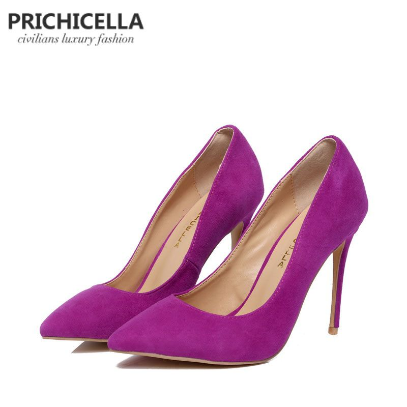 PRICHICELLA Purple suede pumps genuine leather 10cm super high heels <font><b>pointed</b></font> toe dress shoe size34-42