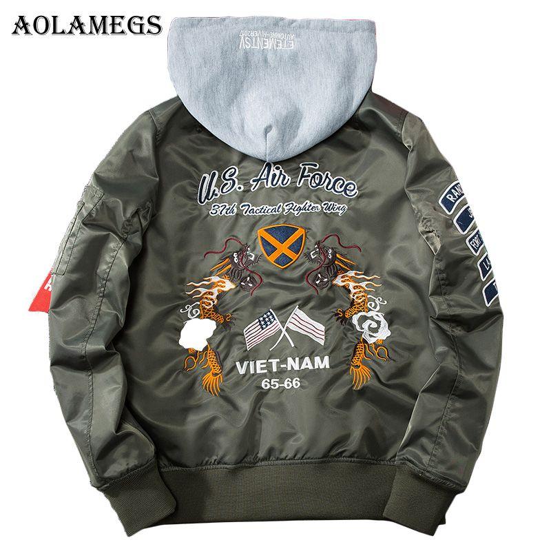 Aolamegs Bomber Jacket Men Embroidery Dragon Hooded Plus Size Men's Jacket Hip Hop Outwear Autumn Men Coat Baseball Jackets 2017