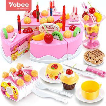 38-75 Pcs BRICOLAGE Jeux de simulation de Fruits Gâteau D'anniversaire De Coupe Cuisine Alimentaire jouets Cocina De Juguete Jouet Rose Bleu Filles Cadeau pour enfants