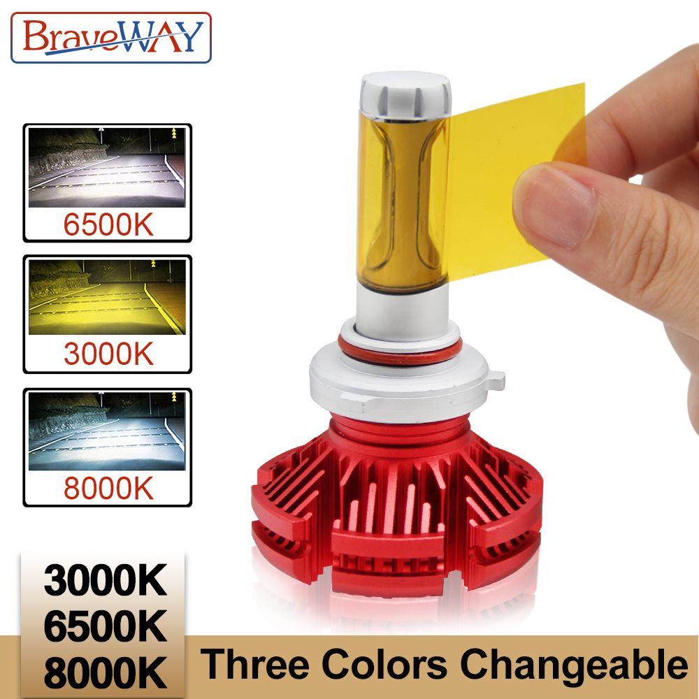 BraveWay ZES Led Headlight Bulbs Car H4 H11 9005 HB3 9006 HB4 H7 Led Dual Color Light Bulb H4 3000K 6500K 8000K Led Auto Lamp H7