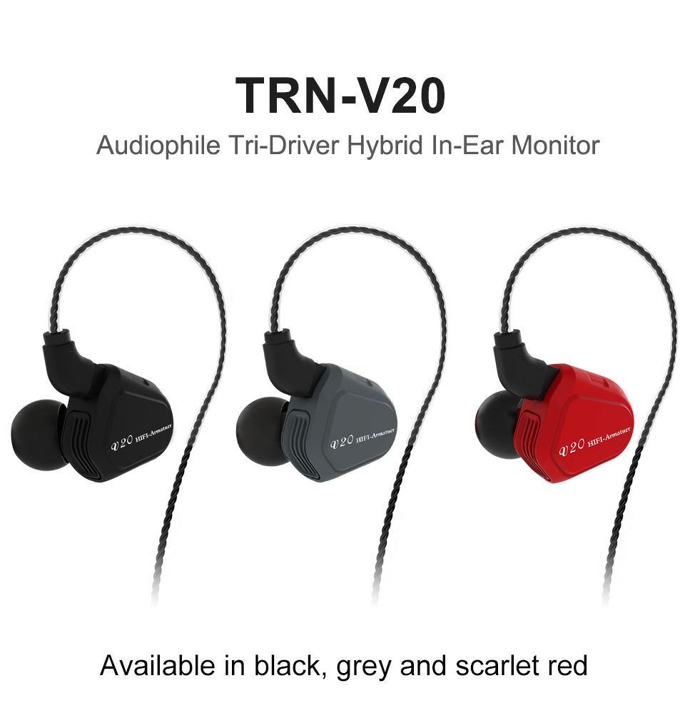 TRN V20 DD+BA Hybrid In Ear Earphone HIFI DJ Monitor <font><b>Running</b></font> Sport Earphone Earplug Headset With 2PIN Cable