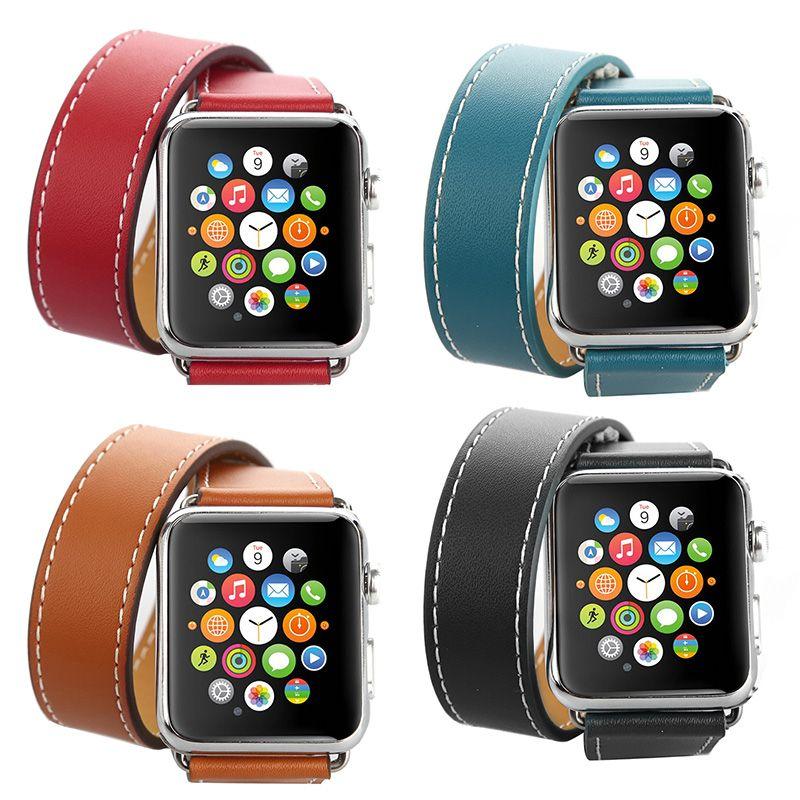 FOHUAS Extra Long Véritable Bracelet En Cuir Double Tour Bracelet En Cuir bracelet Bracelet pour Apple Montre Série 2 38mm 42mm Dans Stock