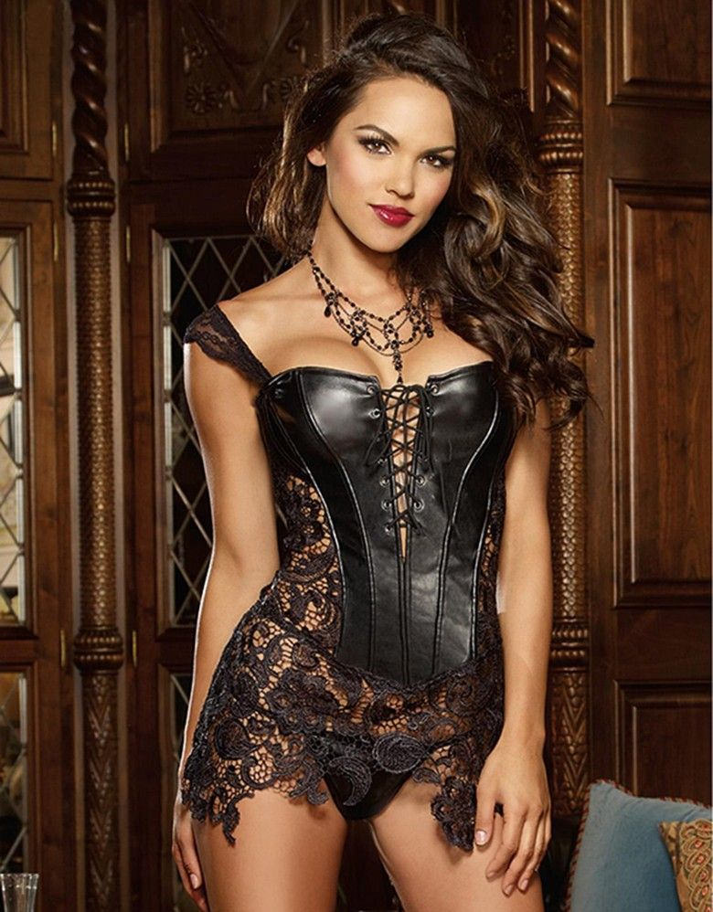 Fashion Sexy <font><b>Women</b></font> Corset With Thong 2017 Faux Leather Black Lace Shaper Bustier Plus Size S-6XL New