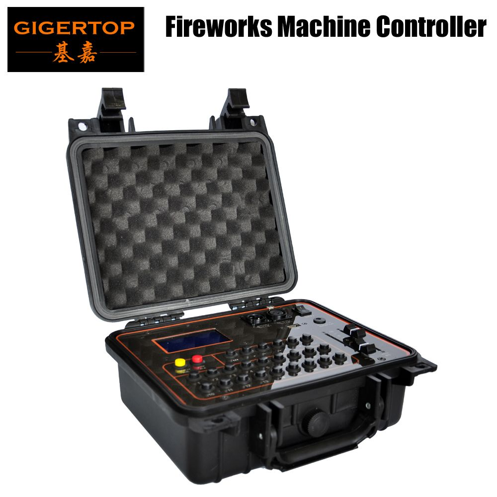 Gigertop TP-D29 Professional Fireworks Machine Controller Rechargable Li-Battery 1000MHA Support DMX / Wireless Control USB Led