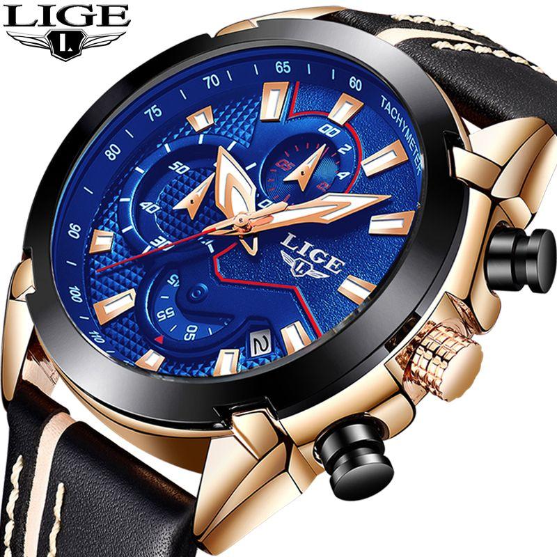 Men Watch Brand LIGE Men's Waterproof Sport Quartz Watch Business Fashion Casual Military Rose Gold Male Clock Relogio Masculino