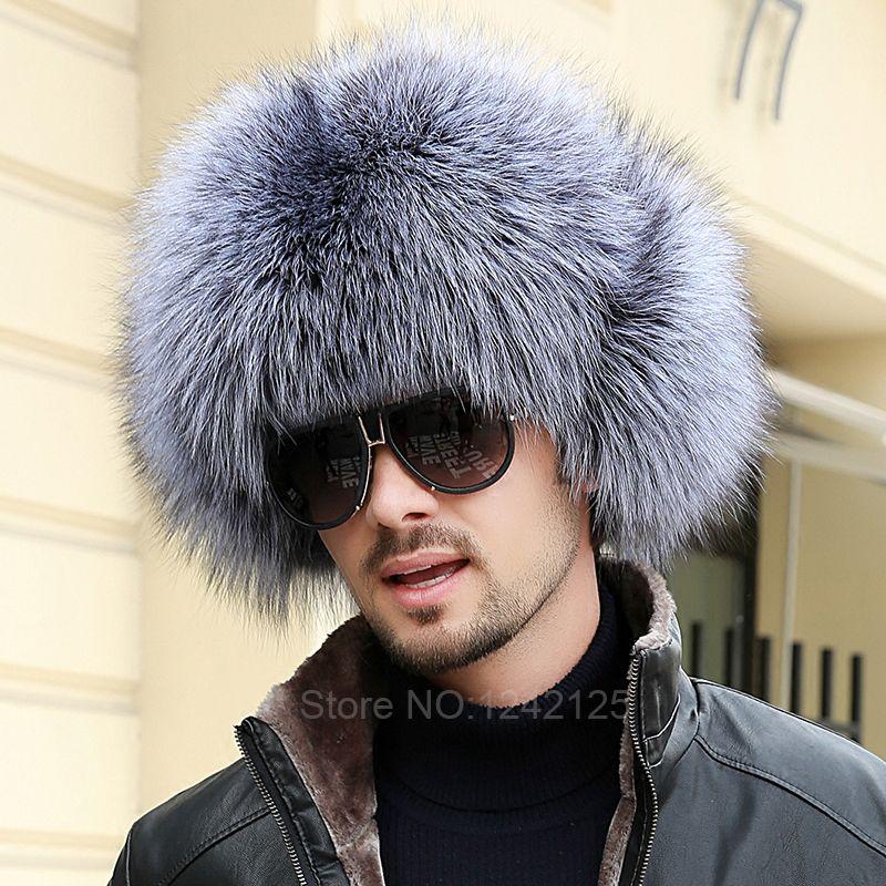 Nuevo invierno Rusia niño padre-hijo hombres mujeres real de piel de zorro sombrero Toda la parte superior de cuero genuino sombrero de piel del oído Orejeras de piel de mapache sombreros cap