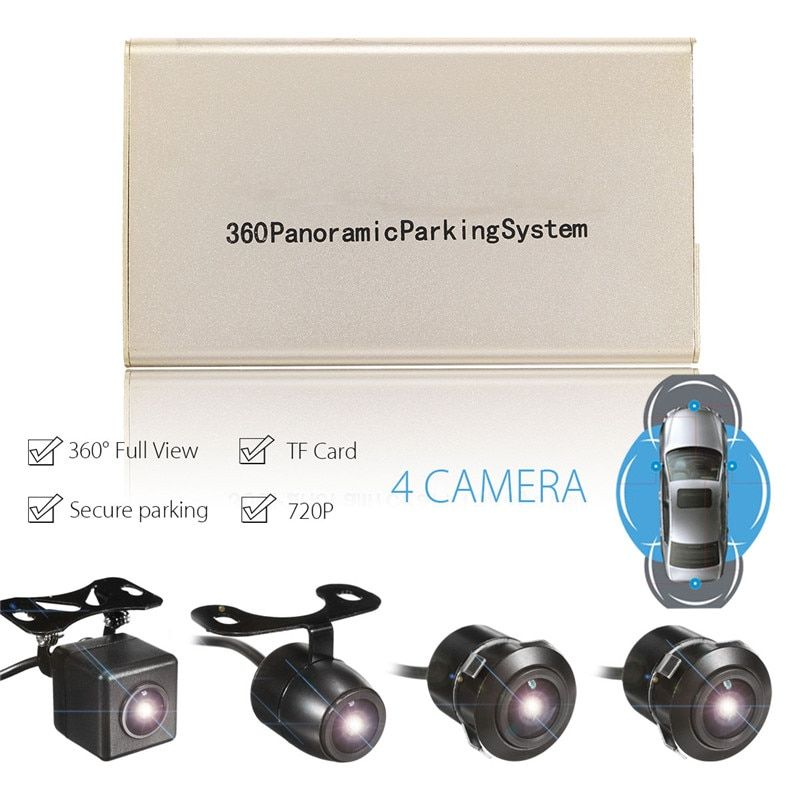 KROAK Car 360 Degree Panoramic Cam Bird View HD 4 Camera Parking Recording Camera DVR USB System TF Card