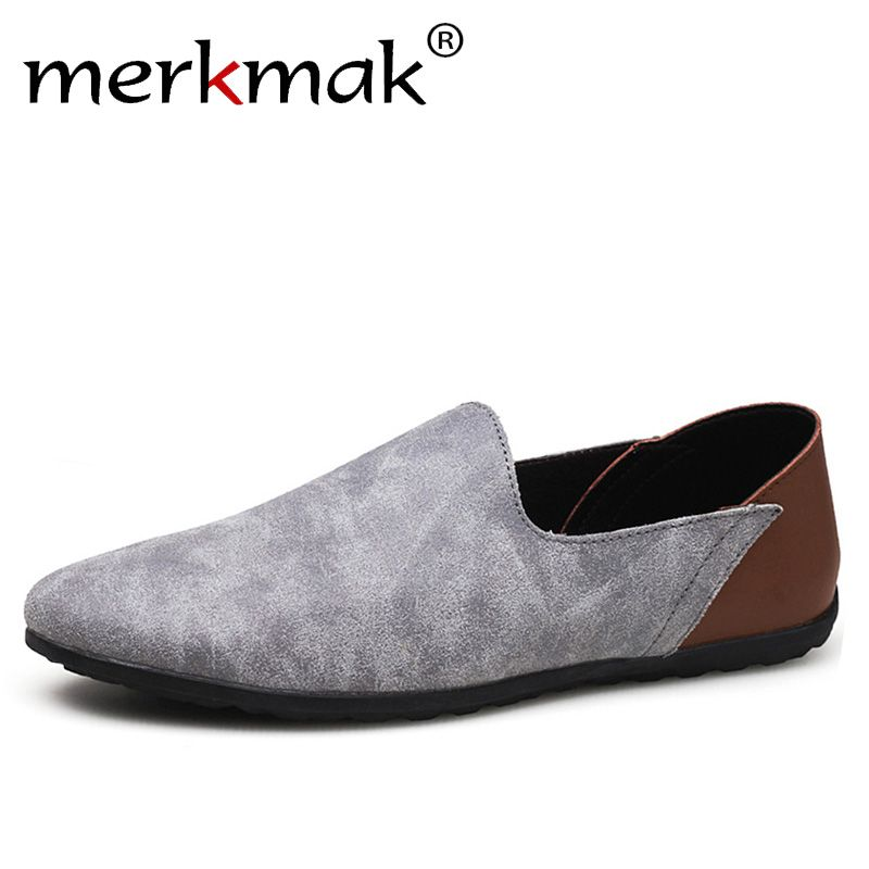 Merkmak Comfortable Soft Suede Men Loafers Cow Genuine Leather Fashion Brand Mens Flats Driving Shoes Plus Size 46 47 48