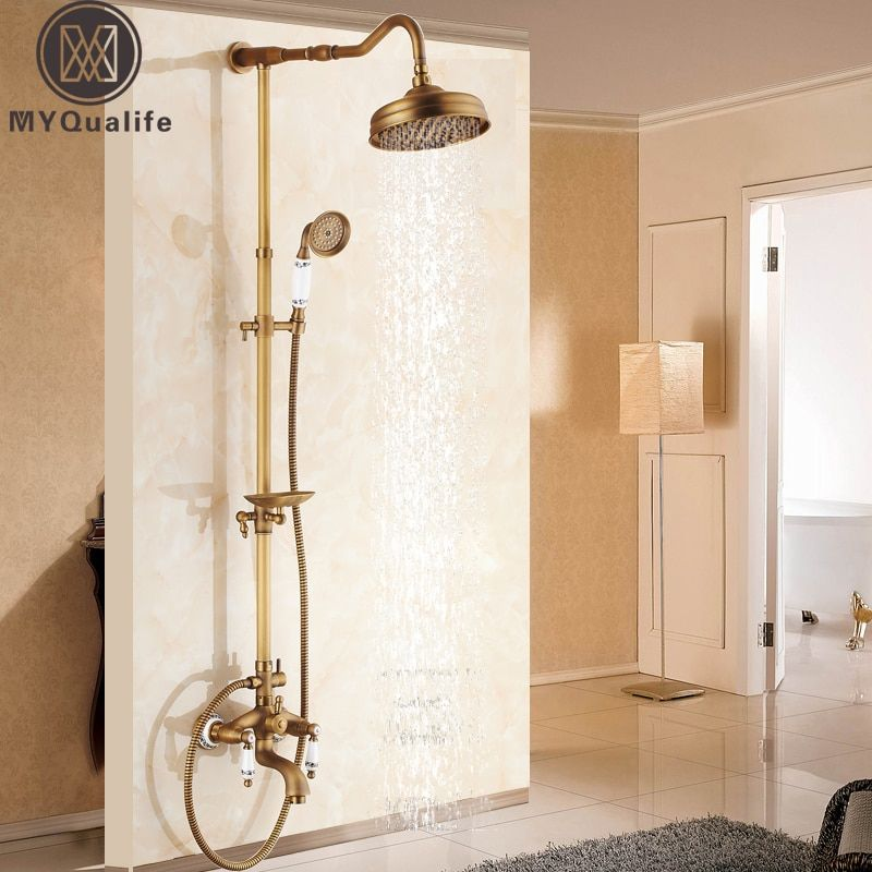 Antique Brass Shower Bath Faucet Sets Wall Mounted EXposed 8