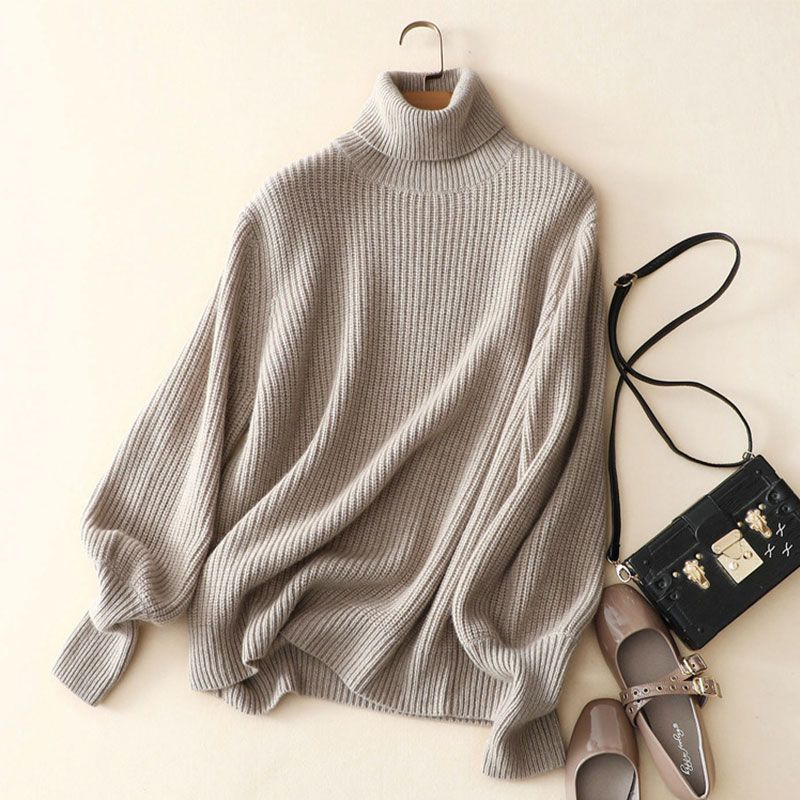 Kashana Women's Thick Cashmere Sweater Solid Color Turtleneck Sweater 100% Cashmere Winter Sweater Women Knitted Sweater 2017
