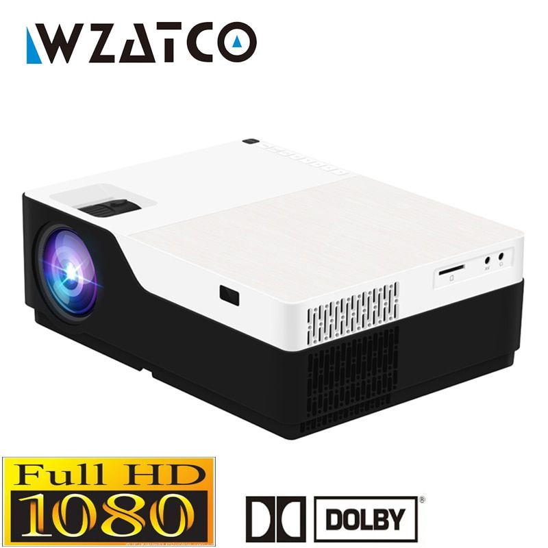 WZATCO 1080P FULL HD LED video Projector 5500Lu Android 7.1 WIFI Support AC3 Beamer Proyector For Game Movie Cinema Home theater