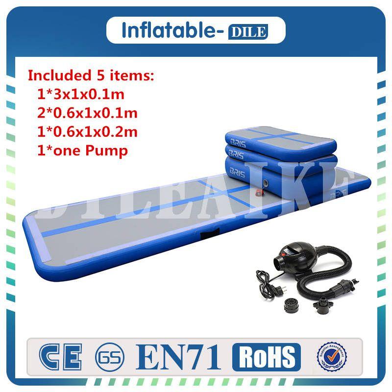 Hot A Set(5 Pieces) Inflatable Air Track Tumbling Floor Gymnastics Training Pad Gym  Taekwondo Air Cushion With Air Pump