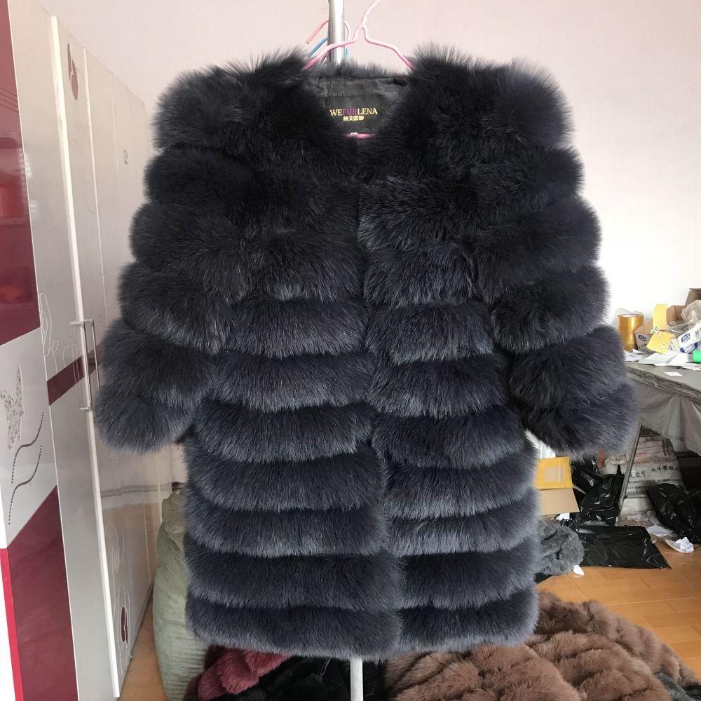 2018 Real Fox Fur Coat Women Natural Real Fur Jackets Vest Winter Outerwear Women Clothes