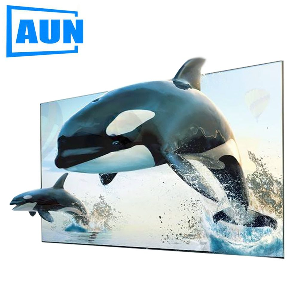 AUN 16:9 Anti-light Screen, 60 / 100 inch Brightness Enhancement Screen for Home theater, LED Projector DLP proyector