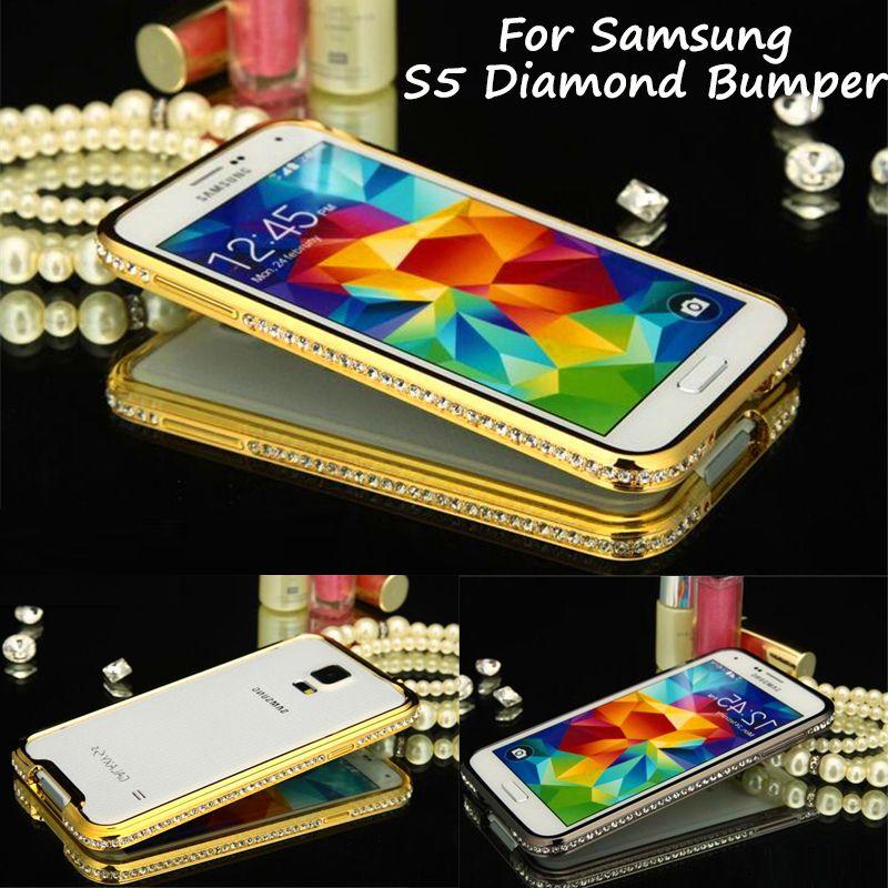 Pour Samsung S5 S 5 G900 Pare-chocs De Luxe Cristal de Diamant Bling métal Couverture de Butoir pour Samsung Galaxy S5 G900 I9600 G900F G900A