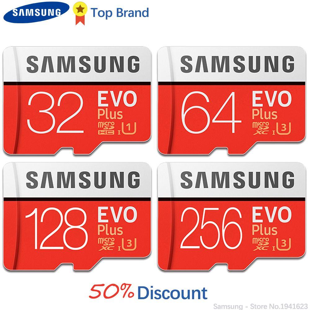 SAMSUNG Micro SD Carte Mémoire EVO + 128 GB 100 MB/s SDXC C10 U3 UHS-I MicroSD TF Carte EVO Plus 128G Classe 10 Grade 3 100% D'origine