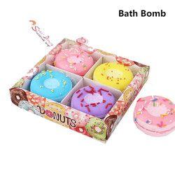 1 Boîte Beignets Bombes Pour le Bain Boule Naturel Sel de Mer fraise myrtille raisin citron bain bombe Bulle Essentiel Corps Gommage