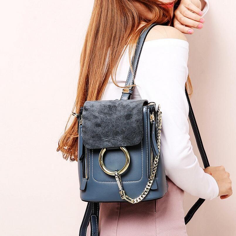 FoxTail & Lily chaîne anneaux en métal Design femmes sac à dos en cuir véritable multifonction Vintage Mini Double sac à bandoulière pour les filles