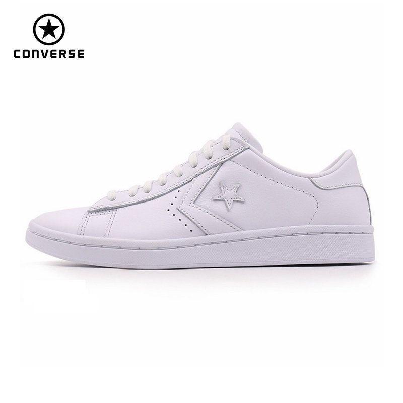 Новинка 2017 оригинальные Converse Star Player кожаные женские кроссовки белого цвета кожа Обувь для скейтбординга 555930c
