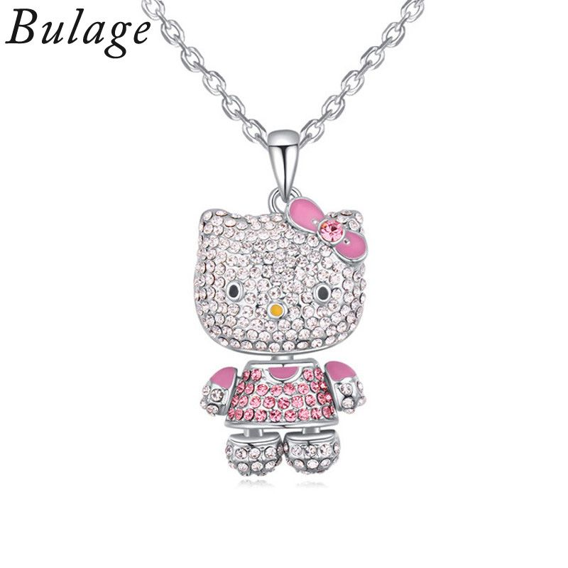 Bulage Lovely Crystal From Swarovski Elements Pendant Necklaces Rhinestone Chain Collier For Women Girls Best Gifts