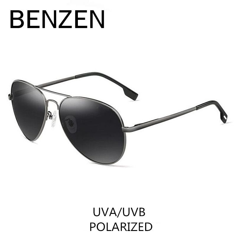 BENZEN Polarized Sunglasses Men Brand Designer Pilot Male Sun Glasses For Driving Vintage Eyewear Shades With Case 9091