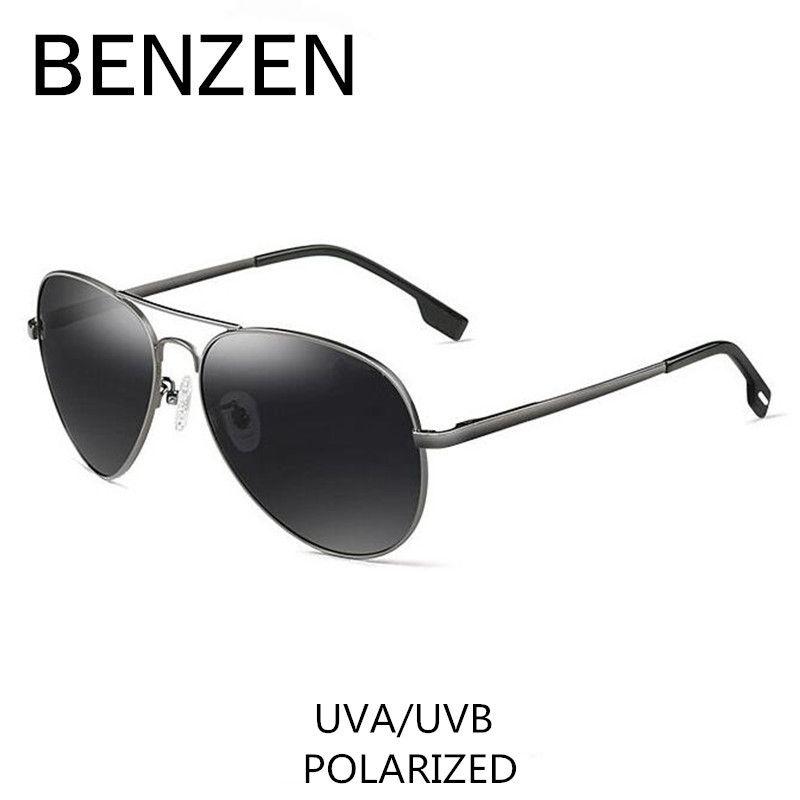 BENZEN Polarized Sunglasses Men Brand Designer Pilot Male Sun Glasses For <font><b>Driving</b></font> Vintage Eyewear Shades With Case 9091