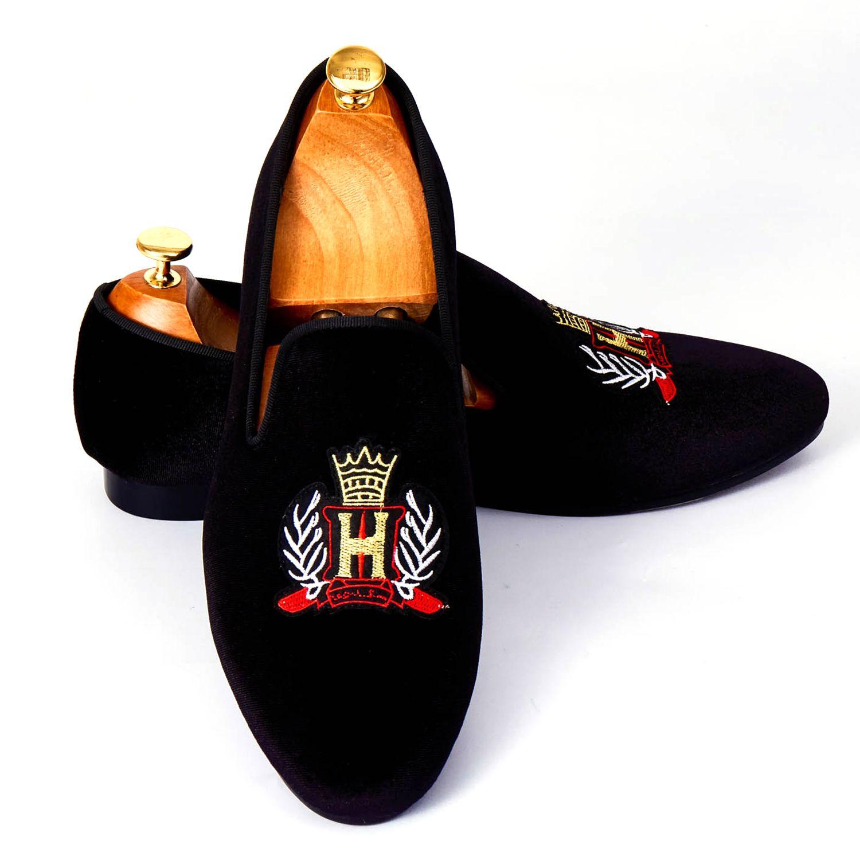 Harpelunde Handmade Emrboidery Men Shoes Black Velvet Loafers Slip On Dress Shoes Size 7-14