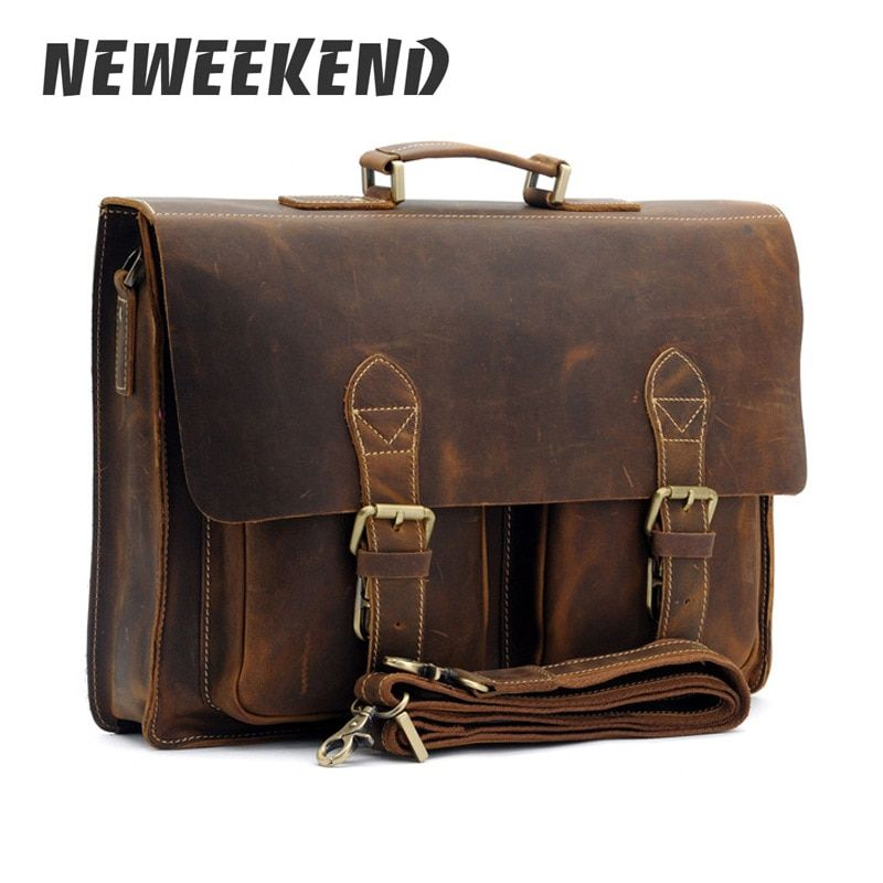Top Grade Male Men's Vintage Real Crazy Horse Leather Briefcase Messenger Shoulder Portfolio Laptop Bag Case Office Handbag 1061