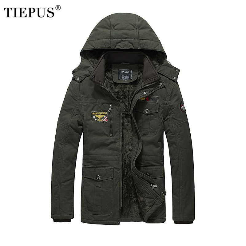 TIEPUS brand winter jacket men plus velvet warm hooded tooling wind large size washed casual cotton M L XL XXL 3XL 4XL