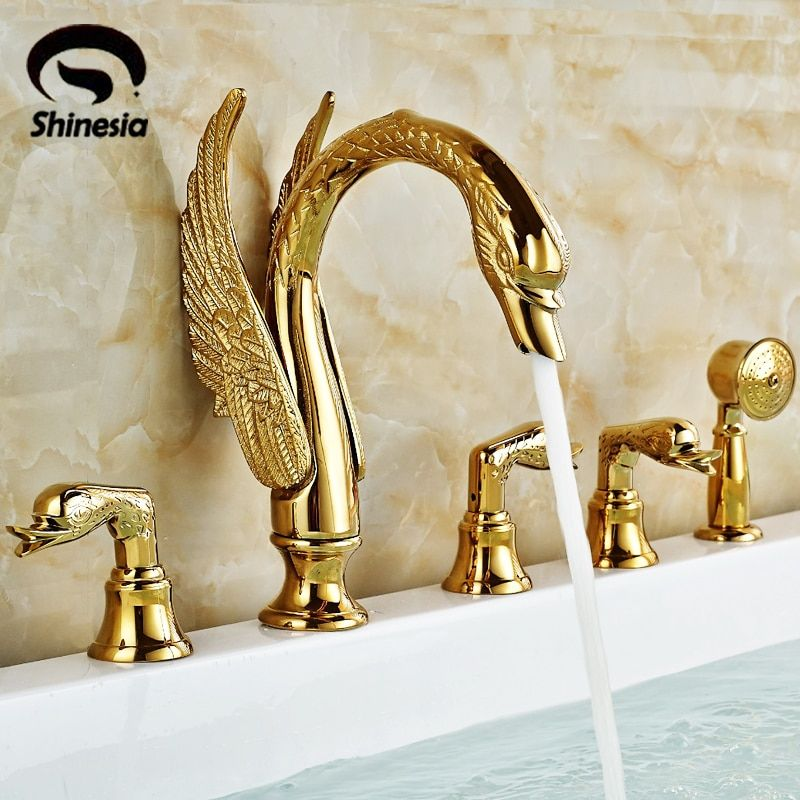 Shinesia Newly Luxury Gold Polished Brass 5Pcs Bathroom Bathtub Faucet Swan Spout with Hand Shower Mixer 3 Handles Hot and Cold