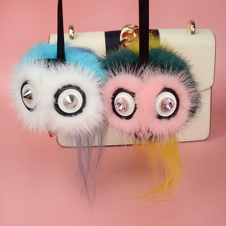 Cute Owl Toy Bag Charm Real Raccoon Fur Bag Bug Monster Bag Bugs Charm Genuine Fox Fur Pompom Keychain Leather Pendant F107