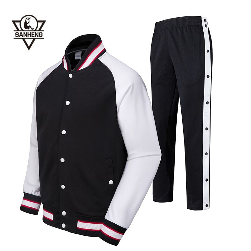 SANHENG Men's Basketball Jersey Competition Uniforms Suits Full Button Pants Sports Clothes Sets Custom Basketball Jerseys 513AB
