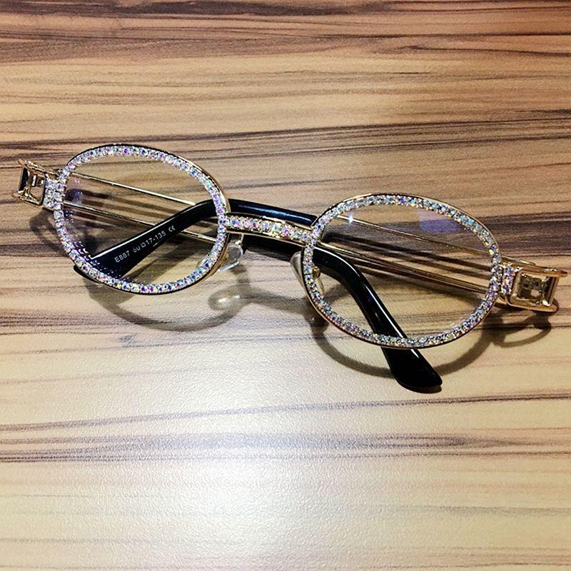 2019 Hip Hop rétro petites lunettes de soleil rondes femmes Vintage Steampunk lunettes de soleil hommes clair lentille strass lunettes de soleil Oculos UV400