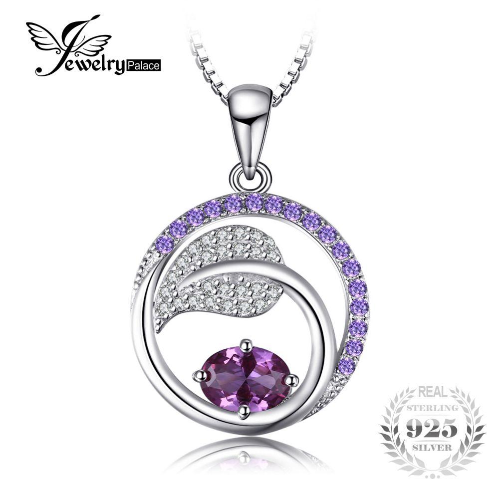 JewelryPalace Hoja 1.4ct Creado Alejandrita Sapphire Purple Cubic Zirconia Colgante collar Verdadero de 925 No Incluye Una Cadena de Plata Esterlina