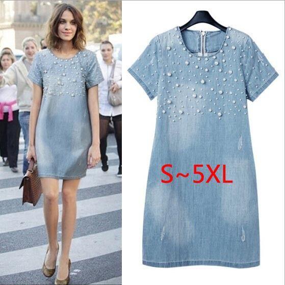 Grande taille 5XL Sundress Jeans décontracté grande taille vestidos broderie perlée robes en Denim grandes tailles fête robe d'été
