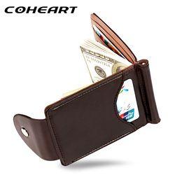 Coheart calidad superior hombres cartera money clip mini Carteras macho Estilo Vintage gris marrón monedero cuero tarjeta holers con abrazadera