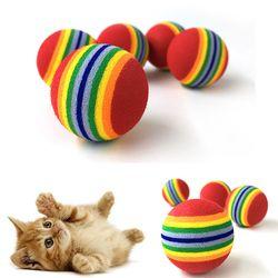 10 قطعة قوس قزح 3.5 سنتيمتر القط لعبة الكرة التفاعلية القط اللعب اللعب مضغ حشرجة الصفر إيفا الكرة التدريب مستلزمات الحيوانات الأليفة