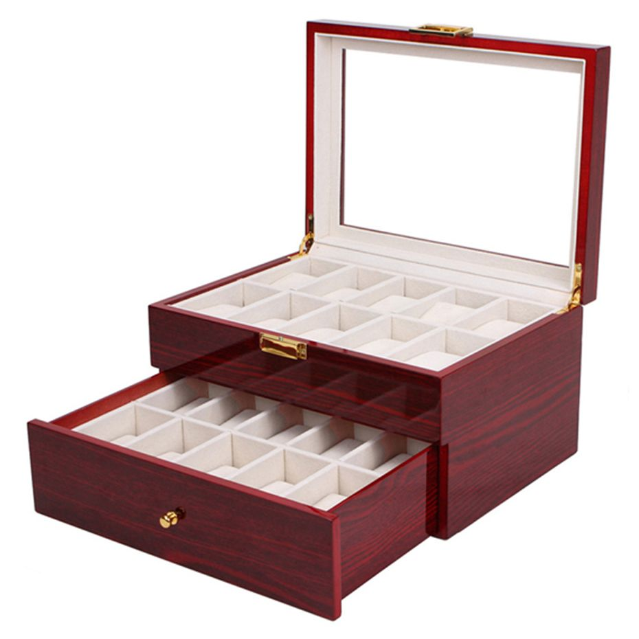 Aivtalk 20 Grids Watch Display Box Lacquer Wood MDF Multifunction Watches Box Holder Case for Expensive Jewelry Watch Storage