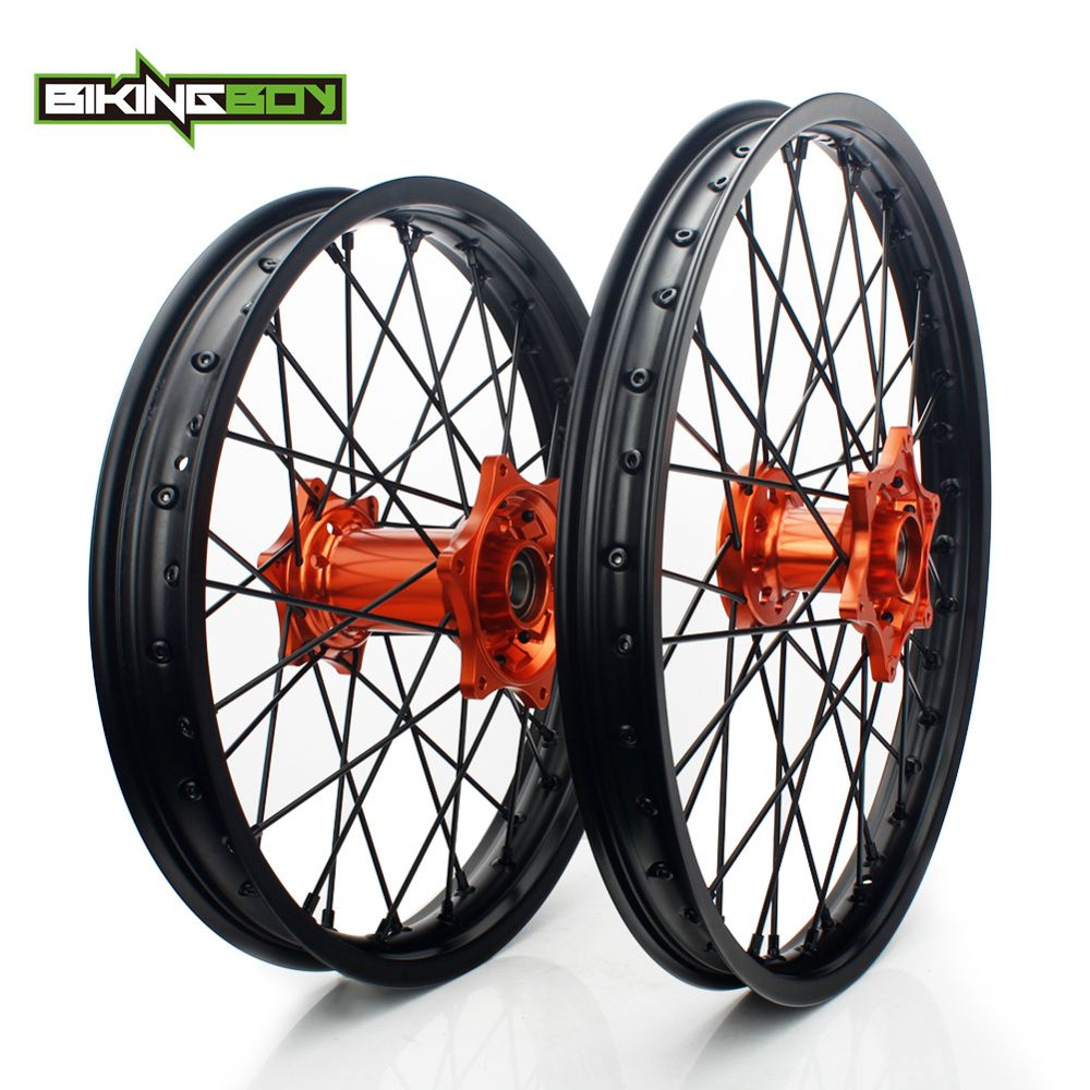 BIKINGBOY Pour KTM EXC MXC SX F XC SXS 125 250 300 350 400 450 505 525 Jante Moyeu Orange Avant 1.6X21