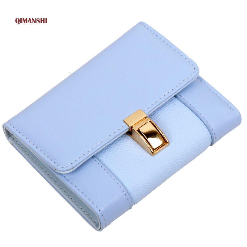 QIMANSHI Women Leather Wallet Short Slim Mini Money bag Candy Color Wallet Coin Card Purses Holders <font><b>Clip</b></font> Female