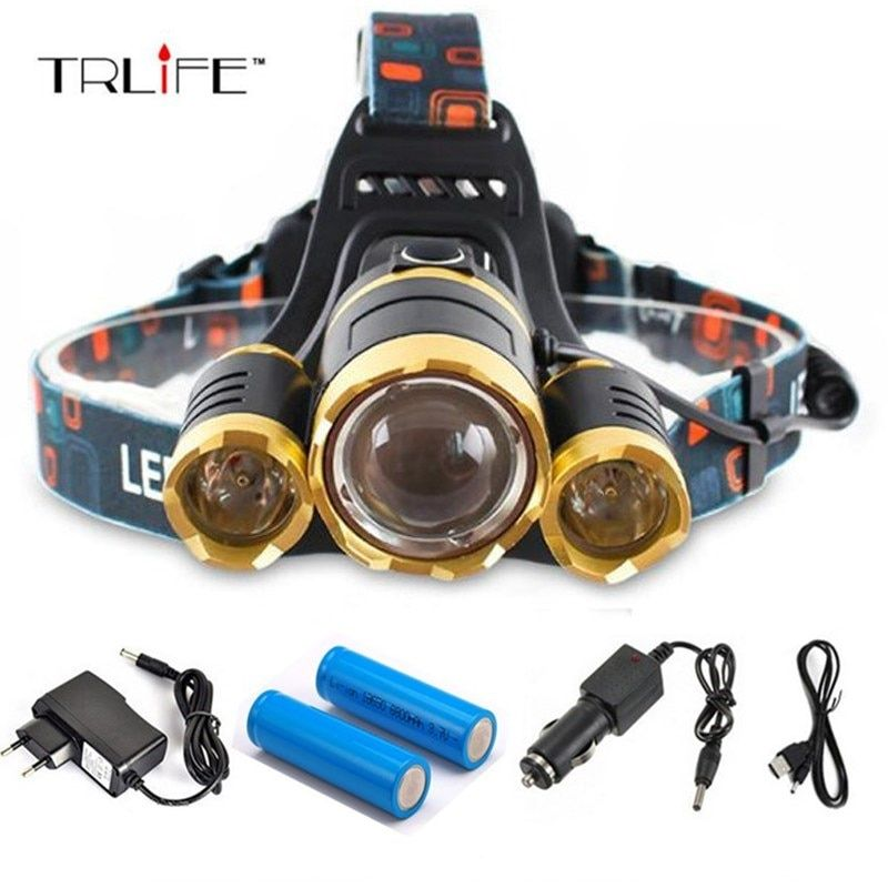 High quality 15000 Lumens Headlight LED <font><b>Headlamp</b></font> CREE XML 3*T6 Zoom <font><b>Headlamp</b></font> Head Lights Lamp+2*18650 Battery+AC/Car/USB Charger