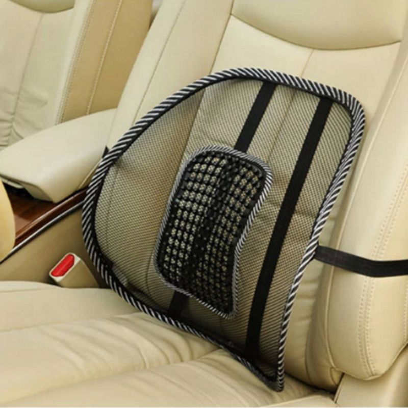 Black Mesh Breathable Cool Massage Car Seat Lumbar Support Waist Cushion For Business Office Chair