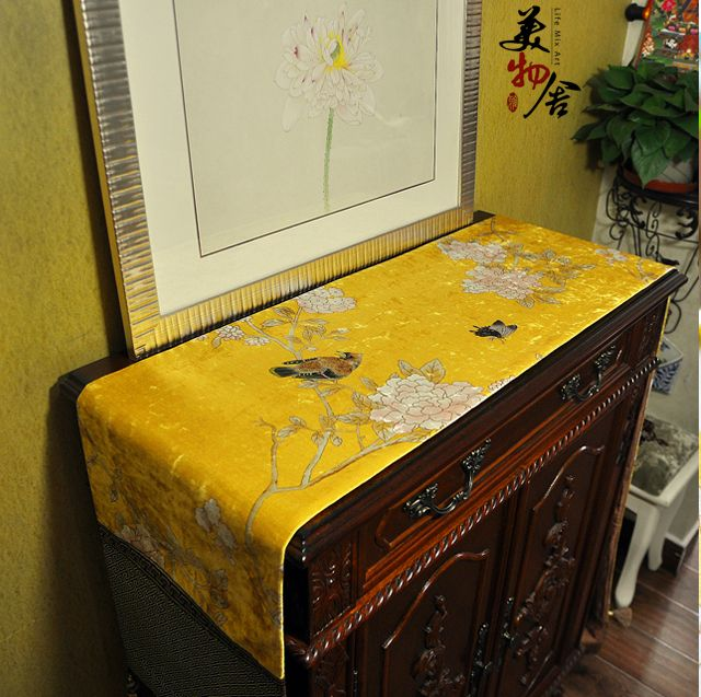 Épais fait à la main encre chinoise lavage peinture oiseau fleur de mariage chemin de Table tissu broderie chambre canapé maison hôtel literie décoration