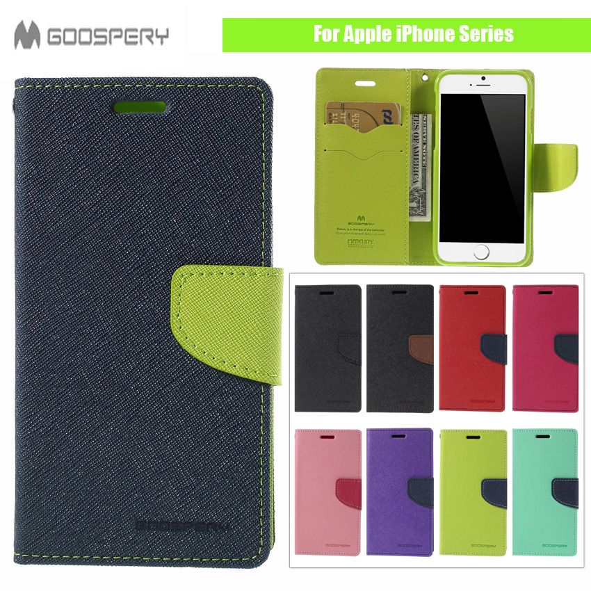 Original MERCURY Goospery Fancy Diary PU Leather Stand Cover For Apple iPhone 5C 4 4s 5 5s SE 6 6S 7 7 Plus 6Plus Phone Case