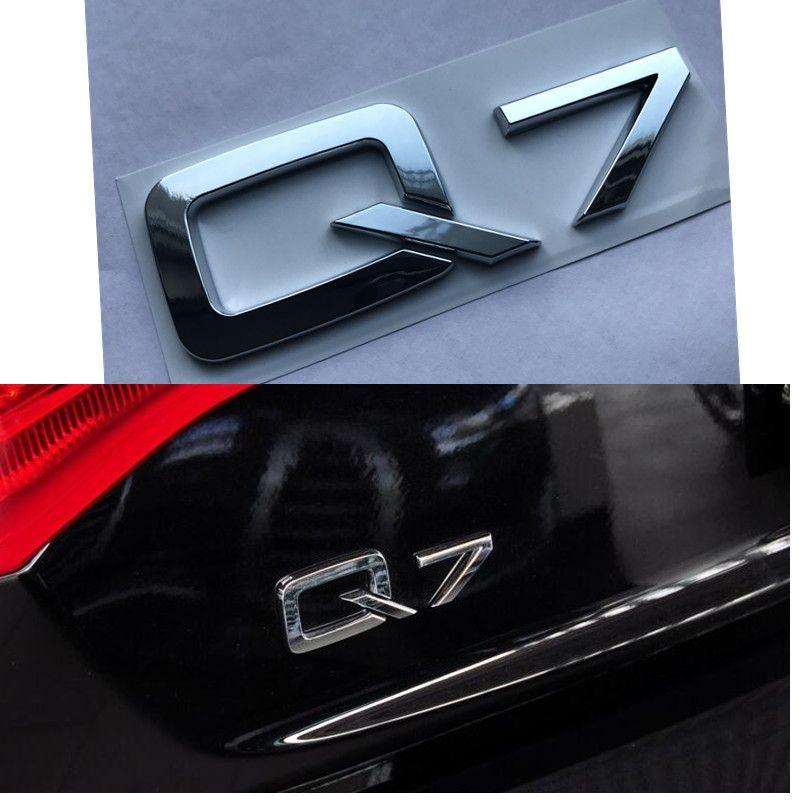 1Pc Silver ABS Q7 3D Emblem Badge Logo Car Sticker Decal Fit for Audi Q7