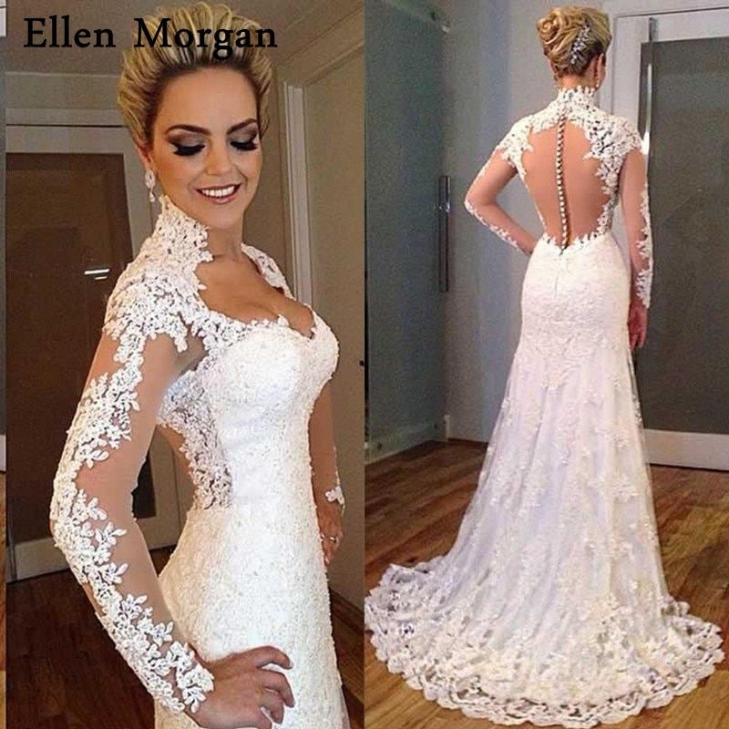 Summer Beach Mermaid Long Sleeve Wedding Dresses 2018 Illusion Lace Real Photos Sexy Sweetheart Cheap Lace Bridal Gowns