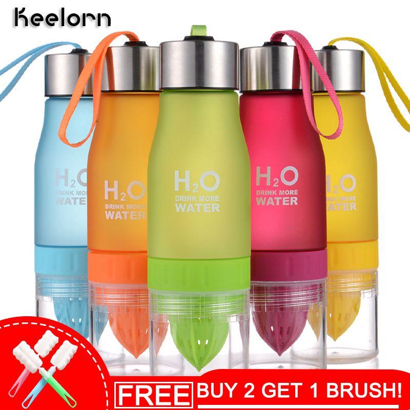650 ml H2O Citron Jus De Fruits Infuseur Bouteille D'eau Verres Pour Outdoor Portable Shaker Bouteille De Sport En Plastique Bouteille D'eau