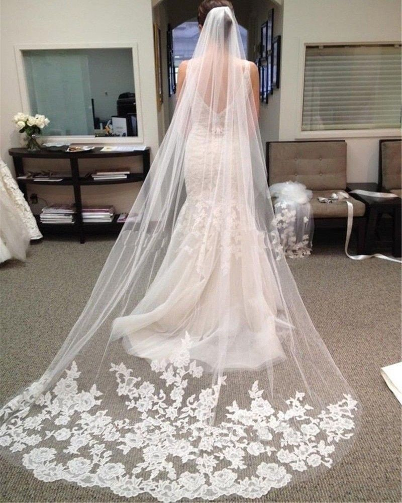 Wedding Veil 3 Meters Long Soft Bridal Head Veils With Comb One-layer Lace Veil Ivory / White Color Women Wedding Accessories